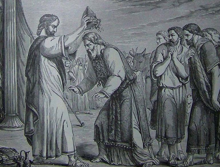 Посвящение Аарона и его сыновей. Иллюстрация к изданию Библии, 1890 .