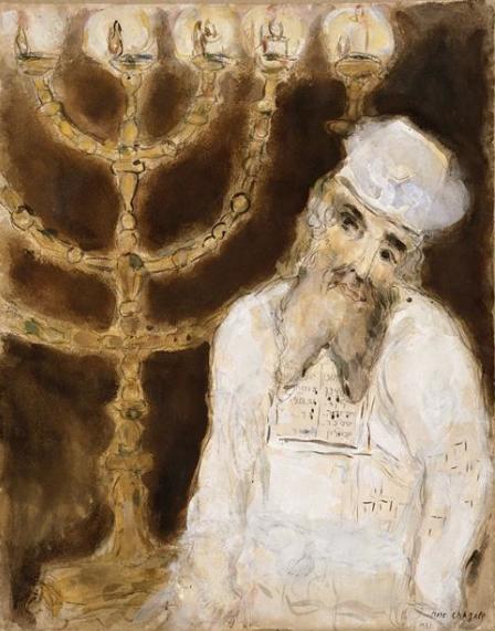 Аарон перед золотым подсвечником. Марк Шагал, 1931
