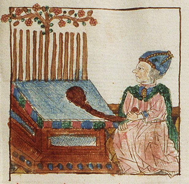 Аарон с расцветшим жезлом. Миниатюра 1450 г.