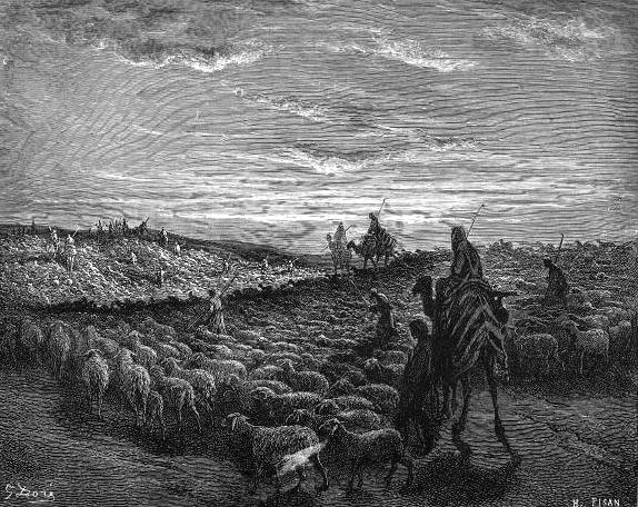 Авраам, путешествующий по земле Кенаана. Гравюра Гюстава Доре, 1865
