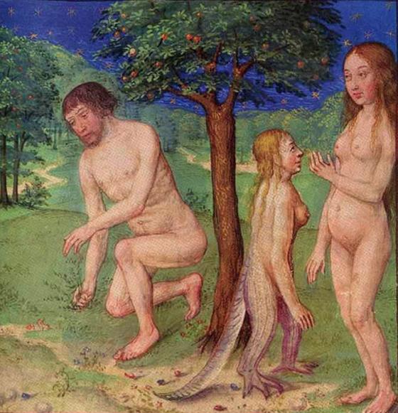 «Адам, Ева и Лилит», миниатюра XV в.