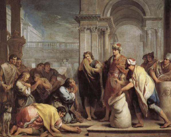 Чашу Йосефа находят в мешке Биньямина. Джакопо Амигони, XVIII в.