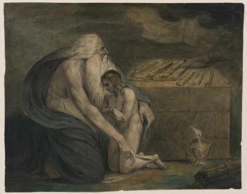 Авраам готовится принести в жертву Йицхака. Уильям Блейк, ок. 1783
