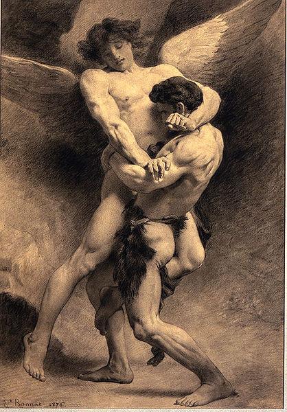 Йааков борется с ангелом. Леон Бонна, 1876