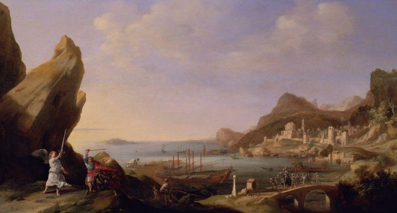 Пейзаж с Билеамом и ангелом. Бартоломей Бренберг, 1634