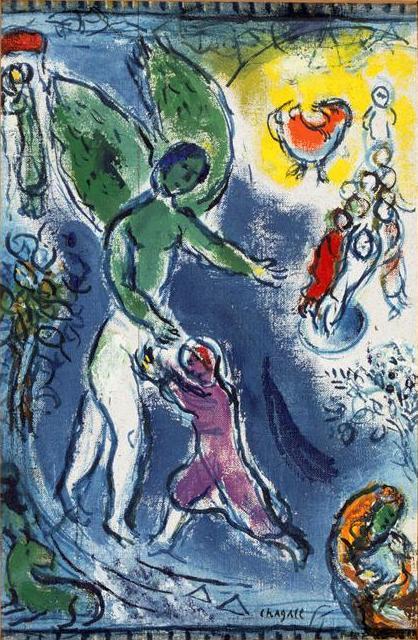 Йааков, борющийся с ангелом. Марк Шагал, 1963