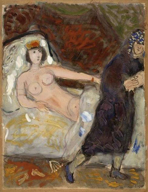 Йосеф и жена Потифара. Марк Шагал, 1931