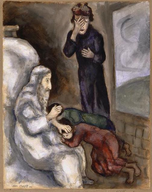 Благословение Эфрайима и Менаше. Марк Шагал, 1931
