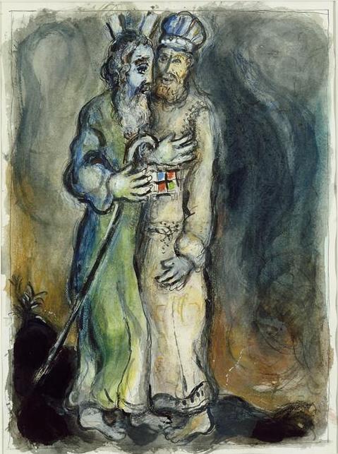 Бог отправляет Аарона встретить Моше в пустыне. Марк Шагал, ок. 1966
