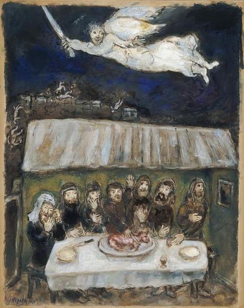 Израильтяне едят пасхального ягненка. Марк Шагал, 1931