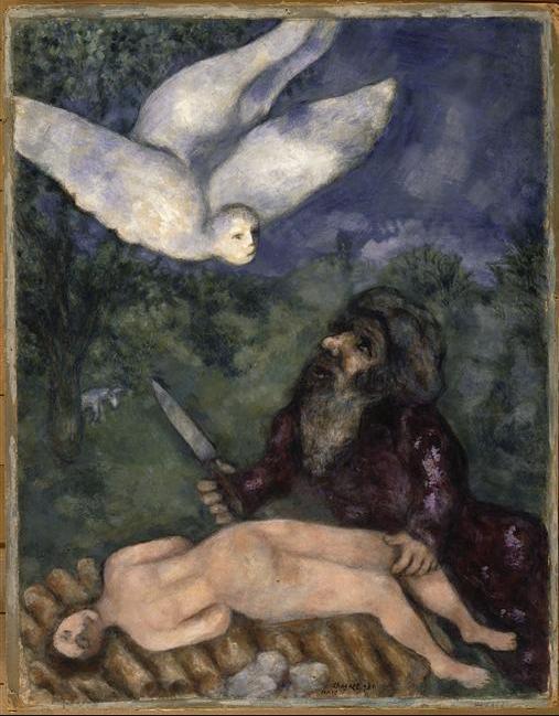 Авраам собирается принести в жертву своего сына. Марк Шагал, 1931