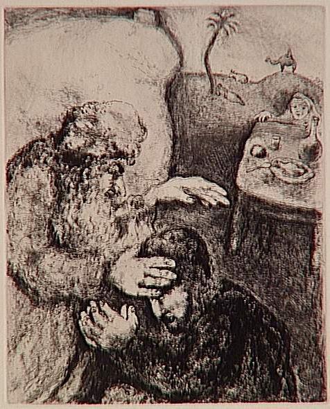 Перед смертью Йицхак благословляет Йаакова. Марк Шагал, 1956