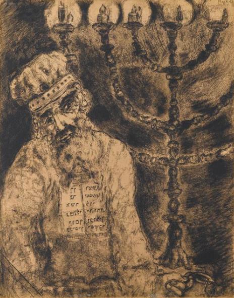 Аарон около золотого семисвечника. Марк Шагал, 1956