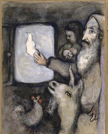 Ноах выпускает голубя. Марк Шагал, 1931