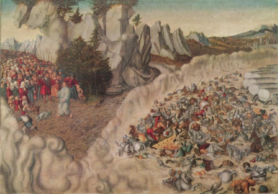Египтяне тонут в Красном море. Лукас Кранах Старший, 1530