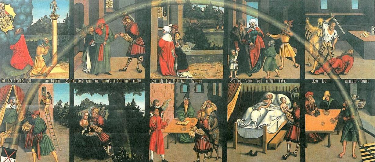 Десять заповедей. Лукас Кранах Старший, XVI в.