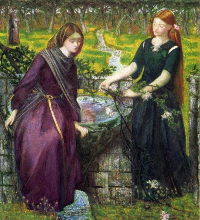 Видение Данте: Рахель и Леа. Данте Габриэль Россетти, 1855
