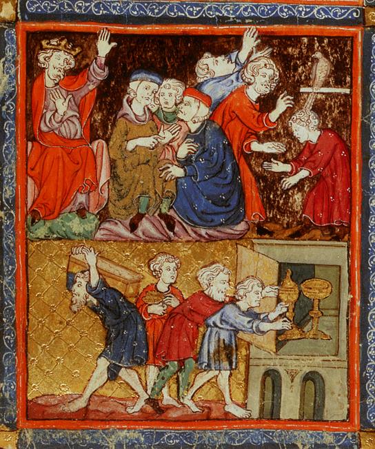 Казнь девятая: тьма. Иллюстрация к Аггаде, XIV в.
