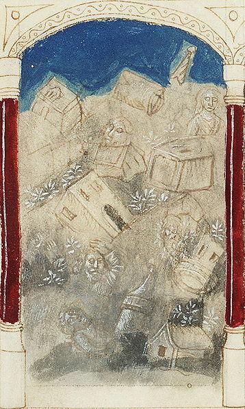Земля поглощает Датана и Авирама. Манускрипт 1450-1455 гг.