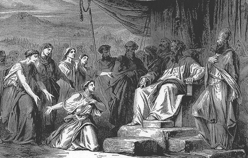 Дочери Целофхада обращаются к предводителям общины. Иллюстрация к изданию Библии, 1908