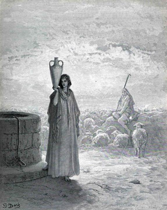 Йааков, пасущий стада Лавана. Гюстав Доре, 1866
