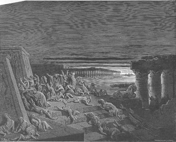Девятая казнь: тьма по всей земле Египетской. Гюстав Доре, 1866