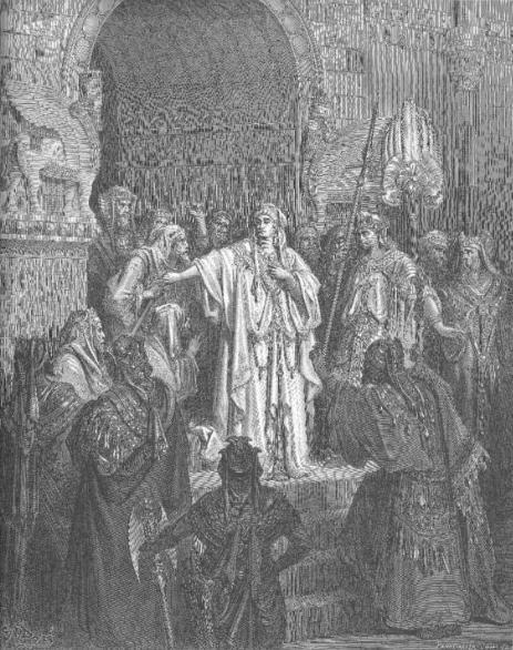 Царица Вашти отказывается выполнить приказ Ахашвероша. Гюстав Доре, XIX в.