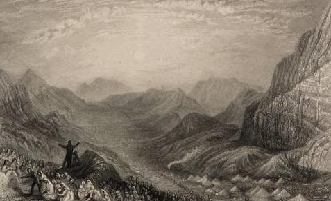 Стан израильтян в Синайской пустыне. Иллюстрация к изданию Библии, 1836