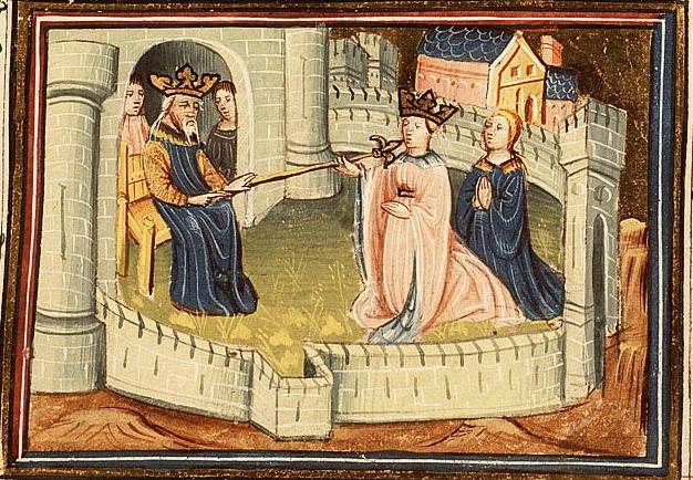 Эстер перед престолом царя Ахавшероша. Миниатюра, XV в.