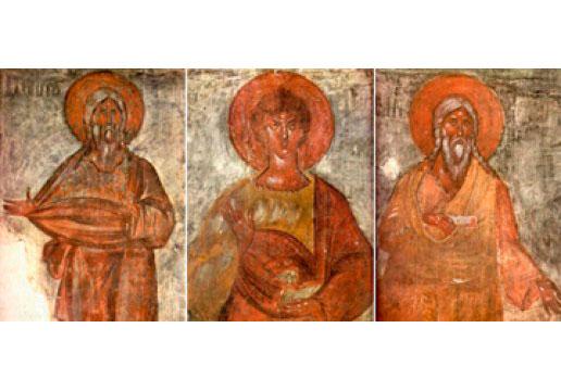 Праотцы Адам, Авель, Сиф. Фреска Феофана Грека, 1378