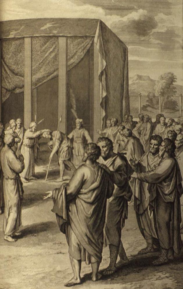 Моше назначает Йеошуа своим преемником. Герард Хоет, 1728