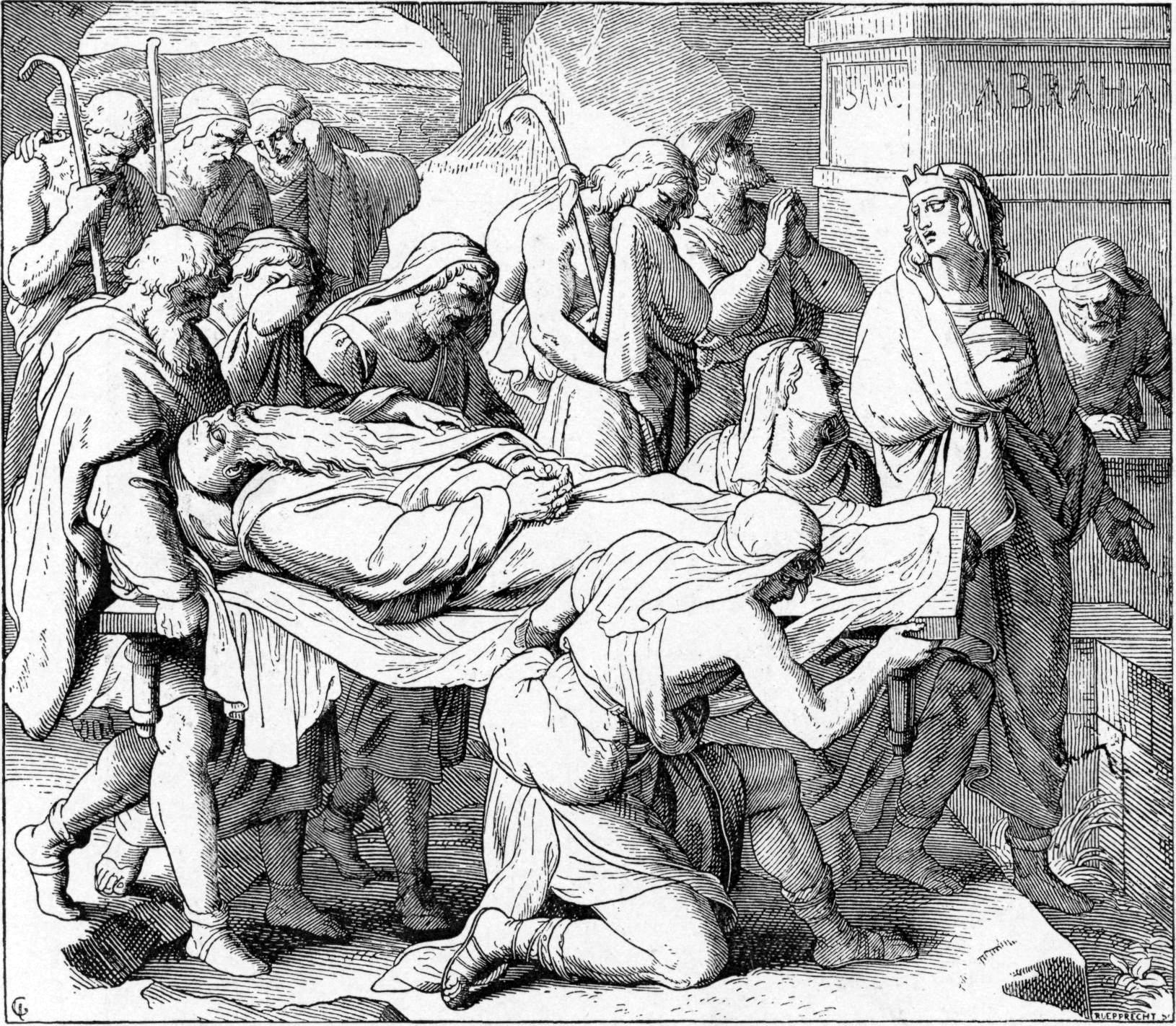 Йосеф и его братья доставляют тела Йаакова в землю Кенаан. Иллюстрация к изданию Библии, 1897