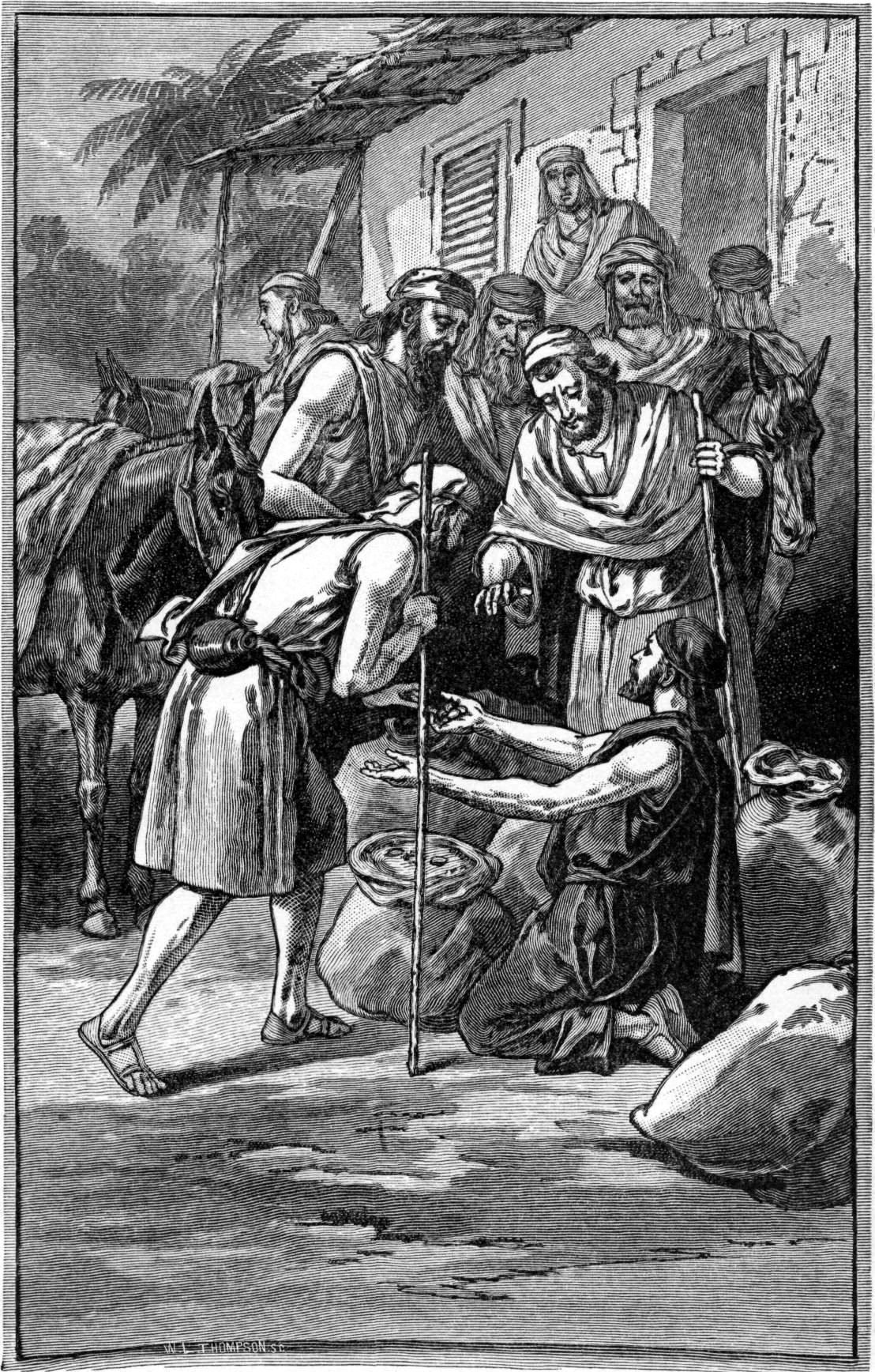 Братья Йосефа обнаруживают в своих мешках серебро. Иллюстрация к изданию Библии, 1897