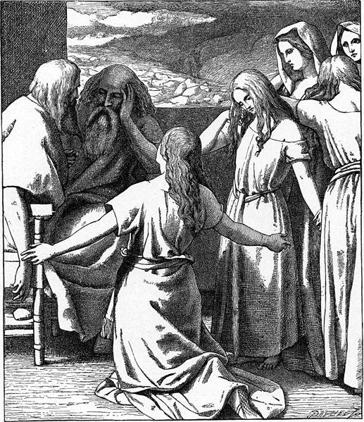 Дочери Целофхада. Иллюстрация к изданию Библии Чарльза Фостера, 1897