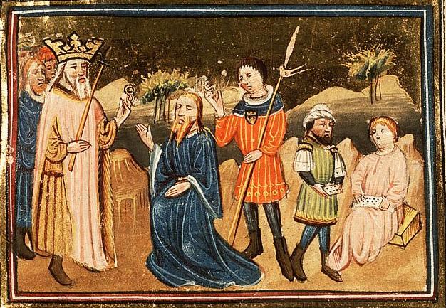 Аман убеждает царя Ахашвероша истребить иудеев. Миниатюра, 1430