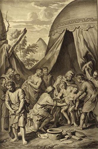 И взял Авраам Ишмаэля и всех людей мужского пола, рожденных в его доме, и обрезал крайнюю плоть их. Герард Хоет, 1728