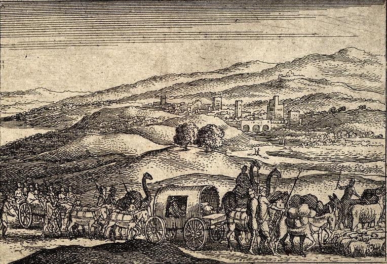 Йааков отправляется в Египет. Офорт Вацлава Холлара, XVII в.