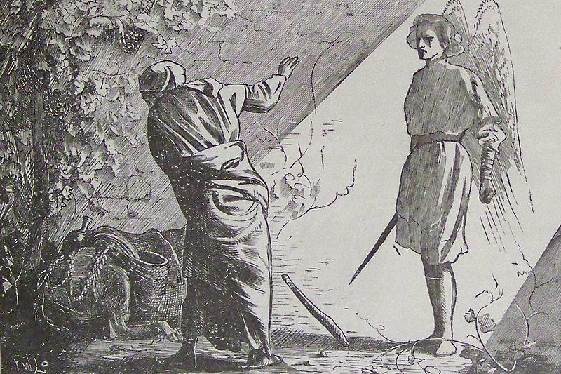 Билеам и ангел. Иллюстрация к Библии Холмана, 1890