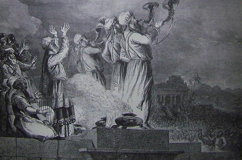 Израильтяне трубят в трубы по случаю новомесячия. Иллюстрация к изданию Библии, 1890