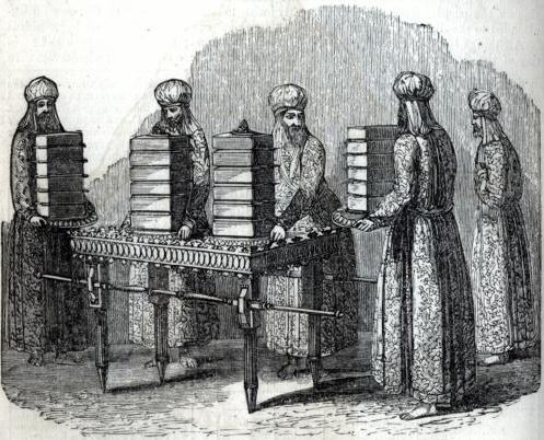 Священники раскладывают хлеб предложения в Скинии Завета. Иллюстрация к изданию Библии, 1871