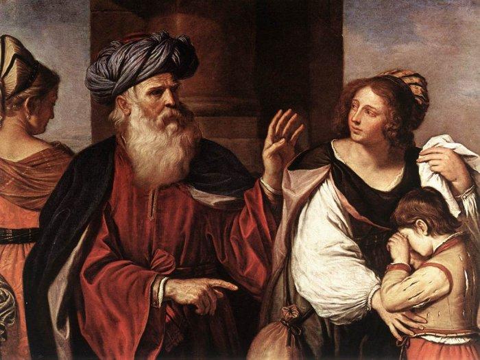 Авраам изгоняет Агар и Ишмаэля. Гверчино, 1657