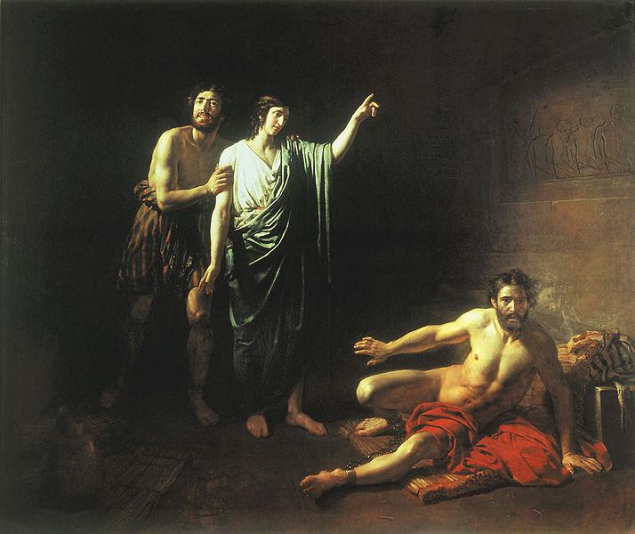 Иосиф, толкующий сны заключенным с ним в темнице виночерпию и хлебодару. Александр Иванов, 1827