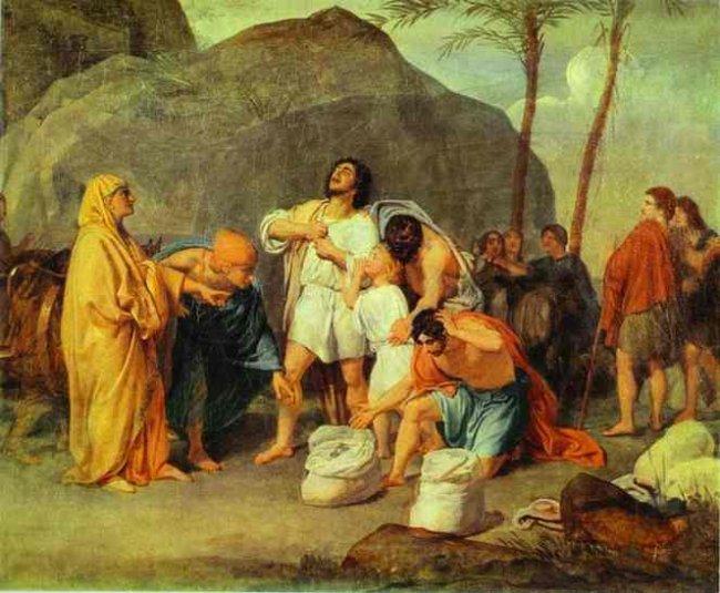 Братья Йосефа находят серебряную чашу в мешке Биньямина. Александр Иванов, 1831-1833