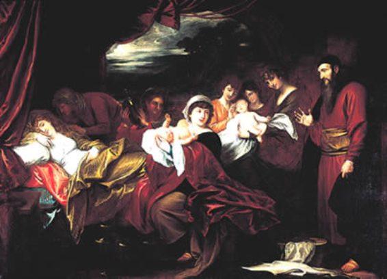 Йицхаку показывают новорожденных Йаакова и Эсава. Бенджамин Уэст, XVIII в.