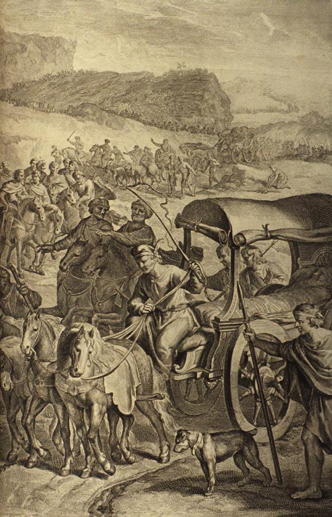 Тело Йаакова доставляют в Кенаан для захоронения. Иллюстрация Герарда Хоета, 1728