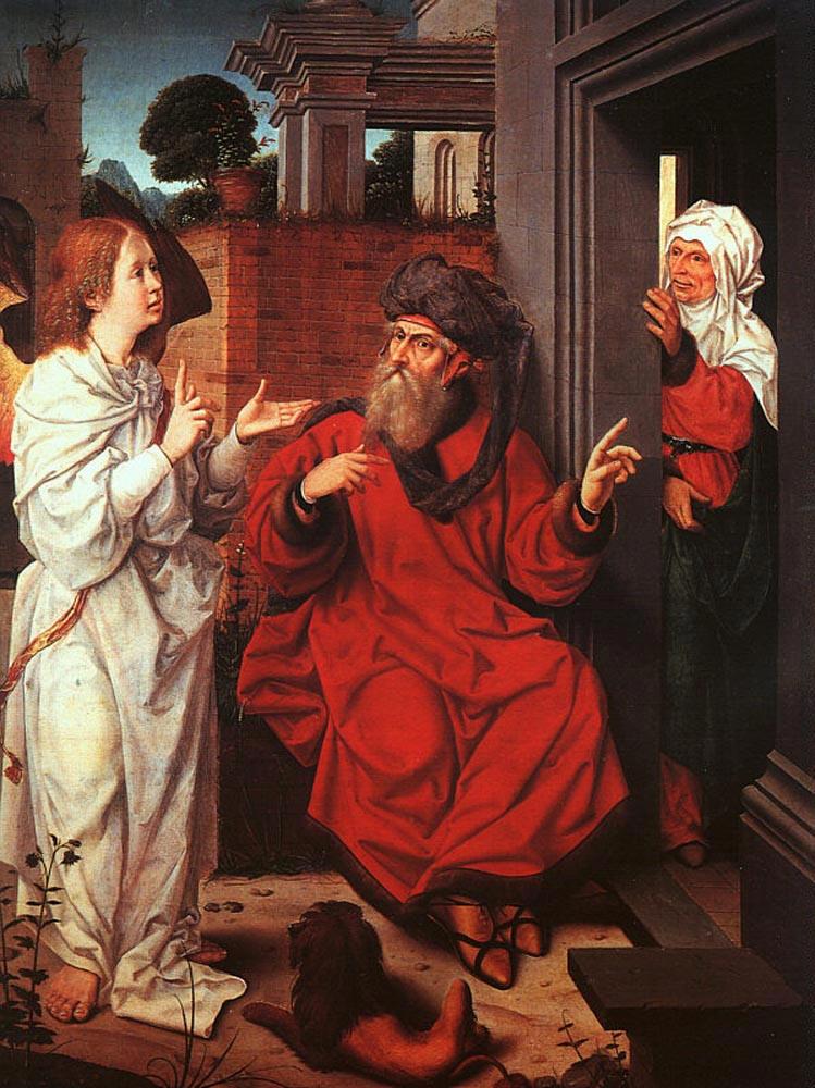 Авраам, Сара и ангел. Ян Провост, XV-XVI вв.