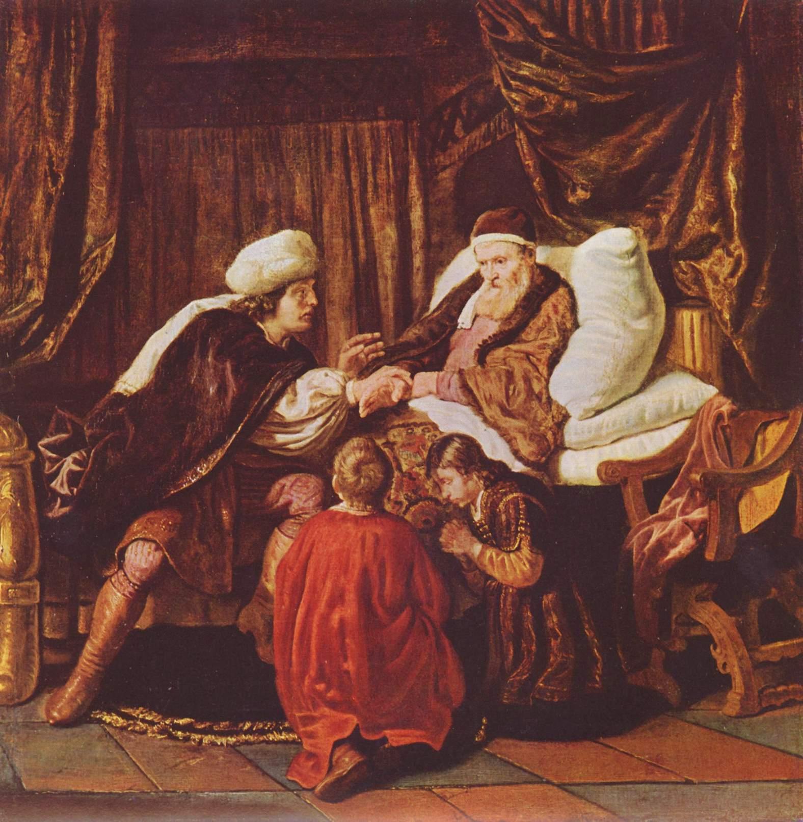 Йааков благословляет сыновей Йосефа. Ян Викторс, ок. 1635