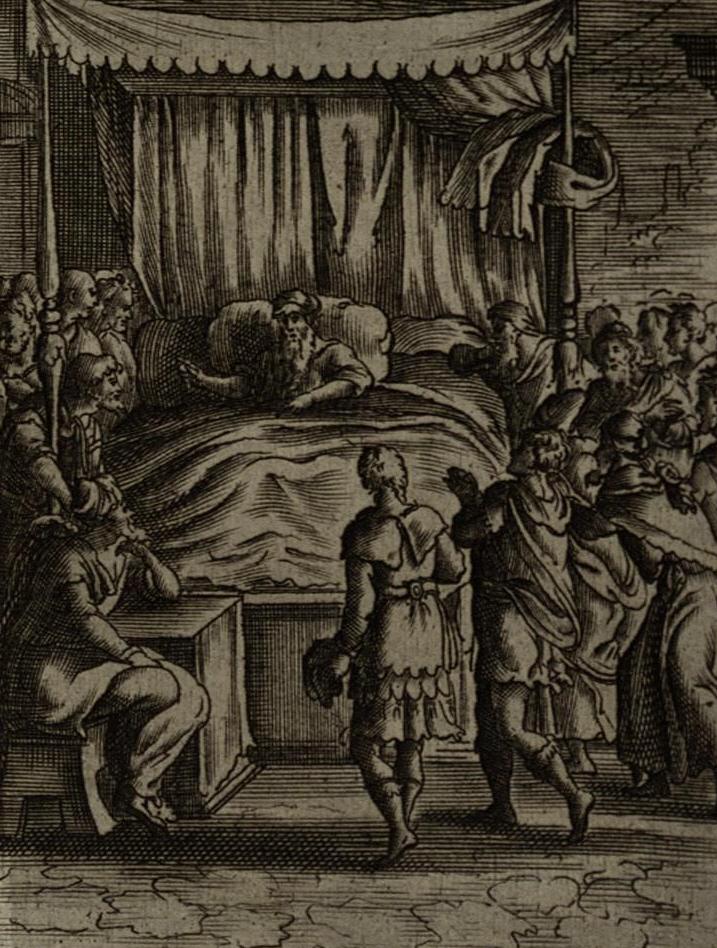 Йааков благословляет своих сыновей. Гравюра Жерара Жоллена, 1670