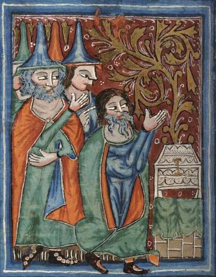 Моше и ковчег Завета. Миниатюра, ок. 1350 г.