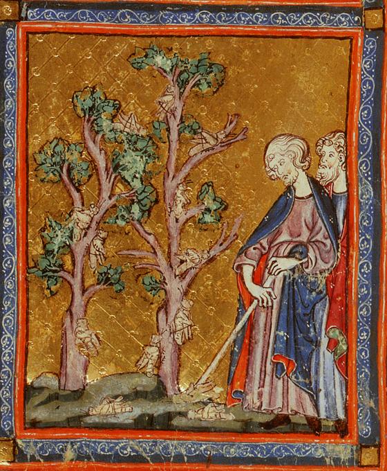 Казнь восьмая: саранча. Иллюстрация к Аггаде, XIV в.
